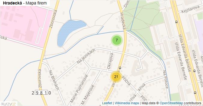 Hradecká - mapa rozložení firem v ulici.