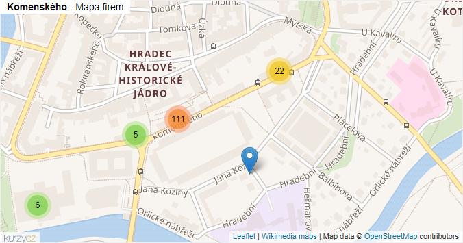 Komenského - mapa rozložení firem v ulici.