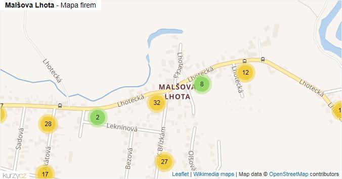 Malšova Lhota - mapa rozložení firem v části obce.