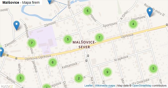 Malšovice - mapa rozložení firem v části obce.