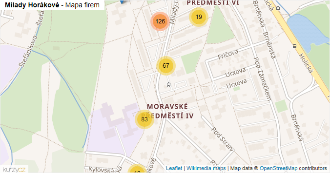 Milady Horákové - mapa rozložení firem v ulici.