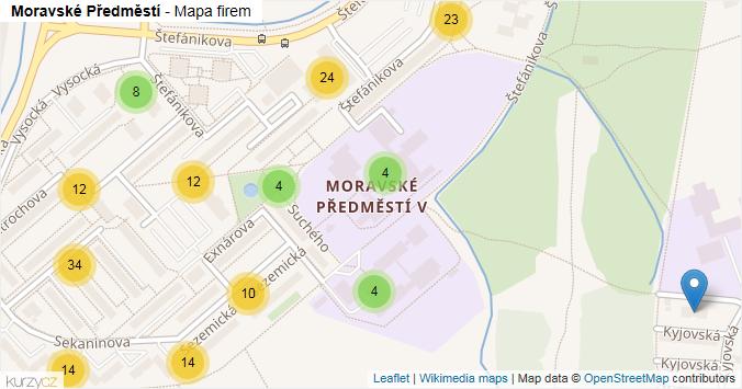 Moravské Předměstí - mapa rozložení firem v části obce.