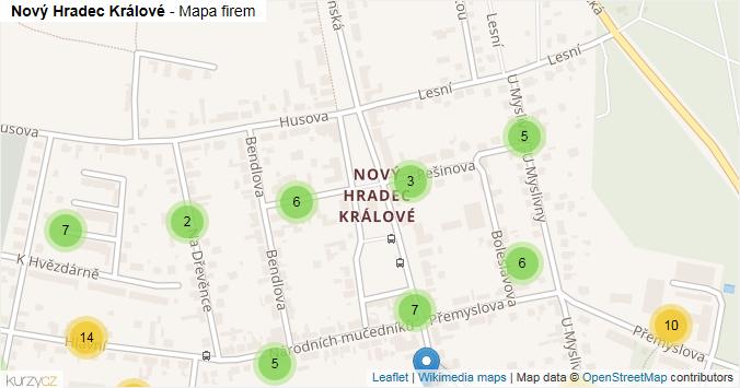 Nový Hradec Králové - mapa rozložení firem v části obce.