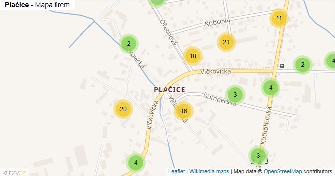 Plačice - mapa rozložení firem v části obce.