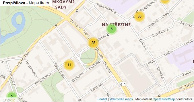 Pospíšilova - mapa rozložení firem v ulici.