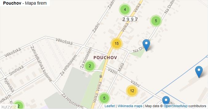 Pouchov - mapa rozložení firem v části obce.