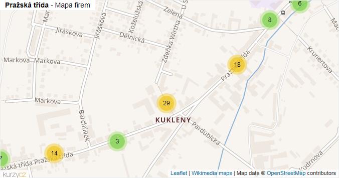 Pražská třída - mapa rozložení firem v ulici.