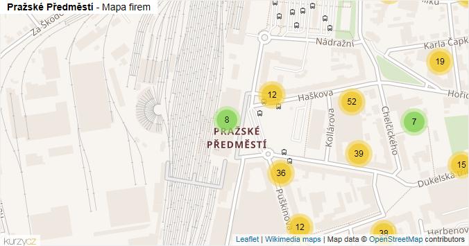 Pražské Předměstí - mapa rozložení firem v části obce.