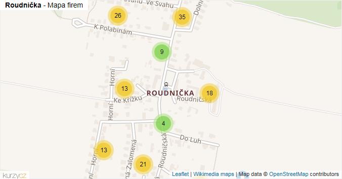 Roudnička - mapa rozložení firem v části obce.