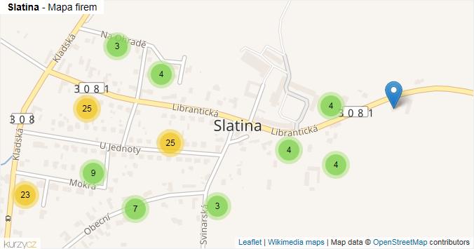 Slatina - mapa rozložení firem v části obce.