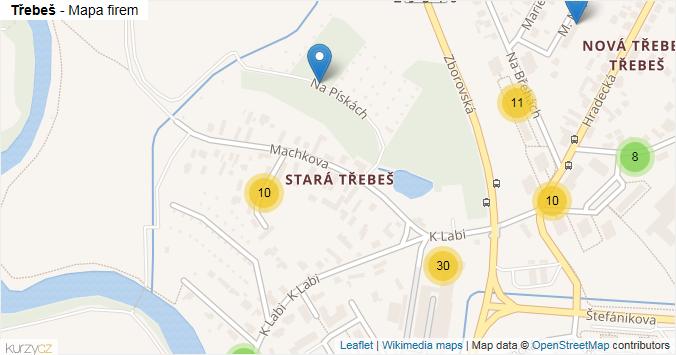 Třebeš - mapa rozložení firem v části obce.