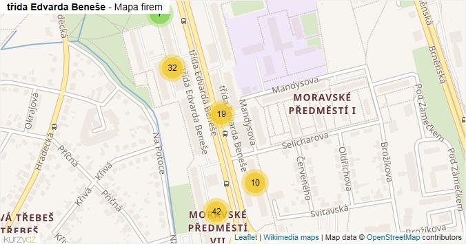 třída Edvarda Beneše - mapa rozložení firem v ulici.
