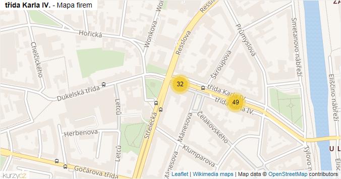 třída Karla IV. - mapa rozložení firem v ulici.