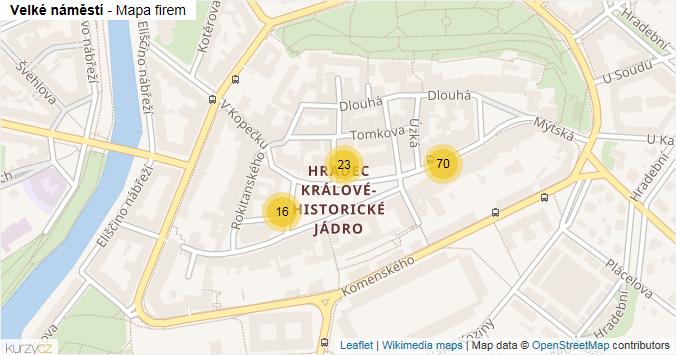 Velké náměstí - mapa rozložení firem v ulici.