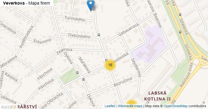 Veverkova - mapa rozložení firem v ulici.