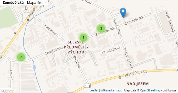 Zemědělská - mapa rozložení firem v ulici.