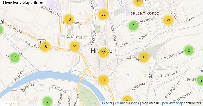 Hranice - mapa rozložení firem v obci.
