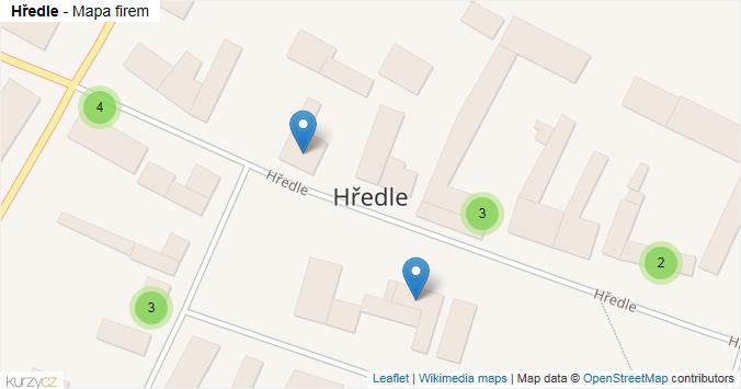 Hředle - mapa rozložení firem v obci.