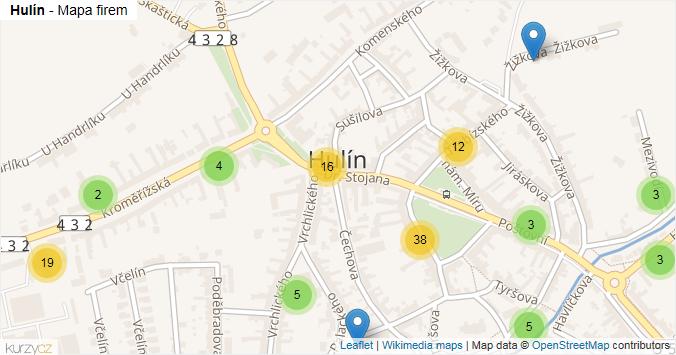 Hulín - mapa rozložení firem v obci.