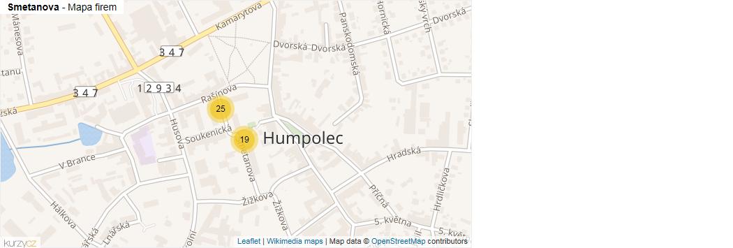 Smetanova - mapa rozložení firem v ulici.