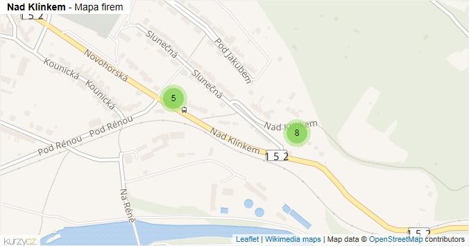 Nad Klínkem - mapa rozložení firem v ulici.