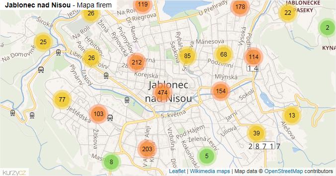 Jablonec nad Nisou - mapa rozložení firem v obci.