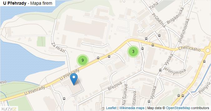 U Přehrady - mapa rozložení firem v ulici.