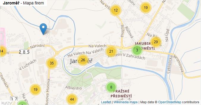 Jaroměř - mapa rozložení firem v obci.
