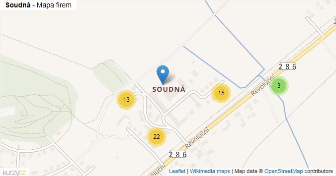 Soudná - mapa rozložení firem v části obce.