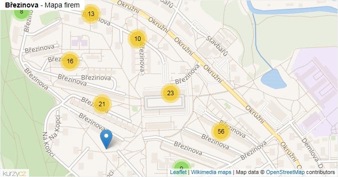Březinova - mapa rozložení firem v ulici.