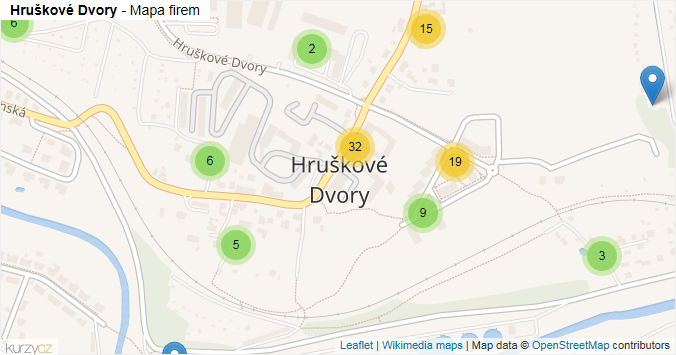 Hruškové Dvory - mapa rozložení firem v části obce.