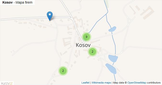 Kosov - mapa rozložení firem v části obce.