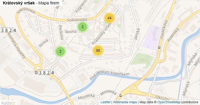 Královský vršek - mapa rozložení firem v ulici.
