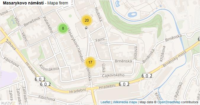 Masarykovo náměstí - mapa rozložení firem v ulici.