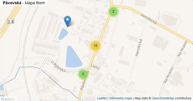 Pávovská - mapa rozložení firem v ulici.
