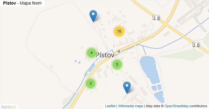 Pístov - mapa rozložení firem v části obce.