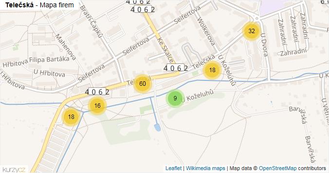 Telečská - mapa rozložení firem v ulici.