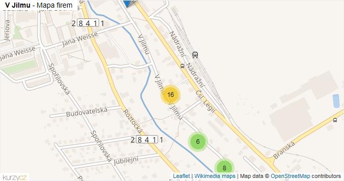 V Jilmu - mapa rozložení firem v ulici.