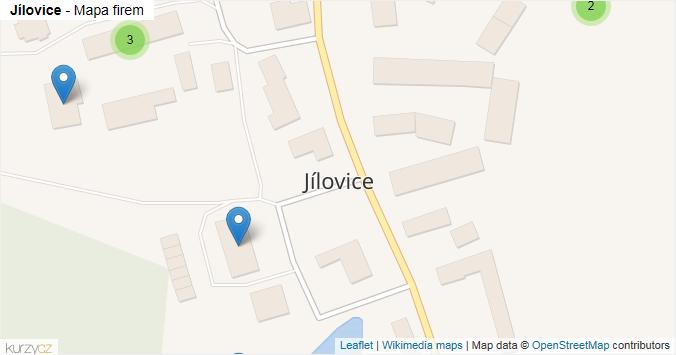 Jílovice - mapa rozložení firem v obci.