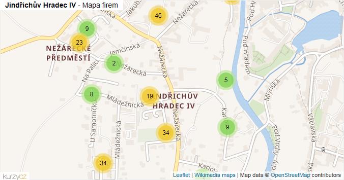 Jindřichův Hradec IV - mapa rozložení firem v části obce.