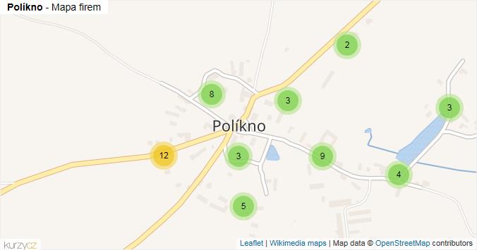 Políkno - mapa rozložení firem v části obce.