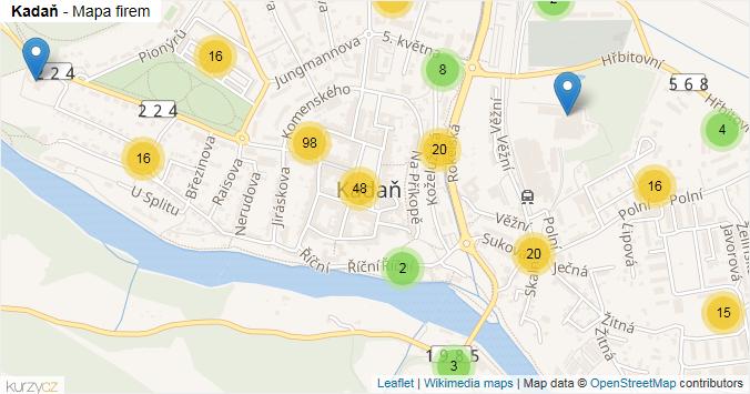 Kadaň - mapa rozložení firem v obci.
