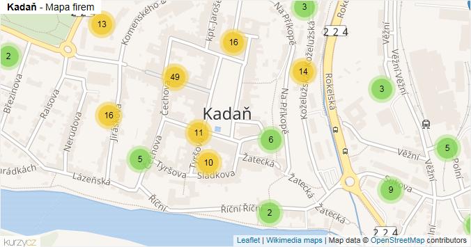 Kadaň - mapa rozložení firem v části obce.
