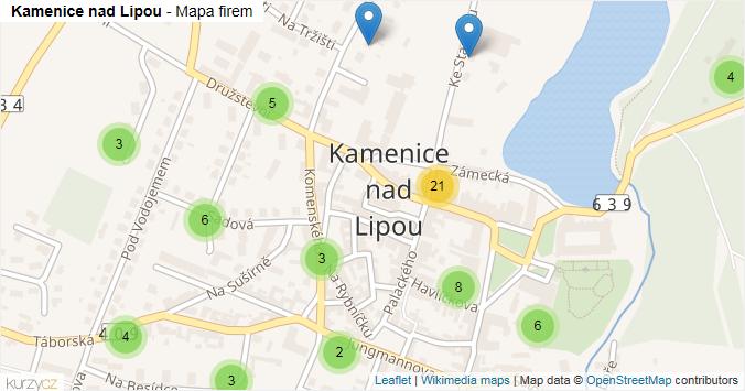 Kamenice nad Lipou - mapa rozložení firem v části obce.
