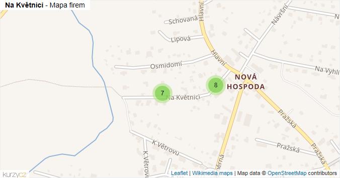 Na Květnici - mapa rozložení firem v ulici.