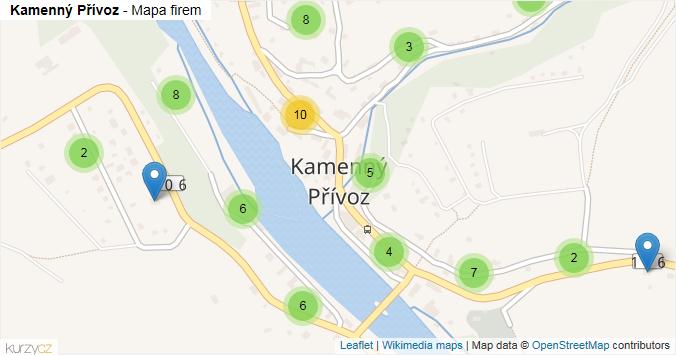 Kamenný Přívoz - mapa rozložení firem v obci.