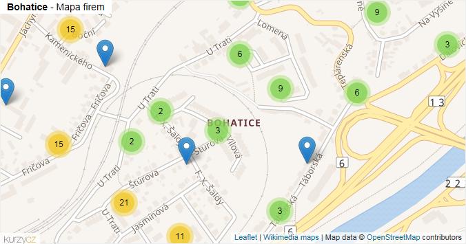 Bohatice - mapa rozložení firem v části obce.