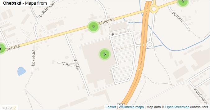 Chebská - mapa rozložení firem v ulici.