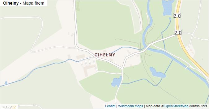 Cihelny - mapa rozložení firem v části obce.