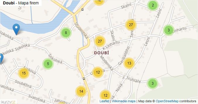 Doubí - mapa rozložení firem v části obce.